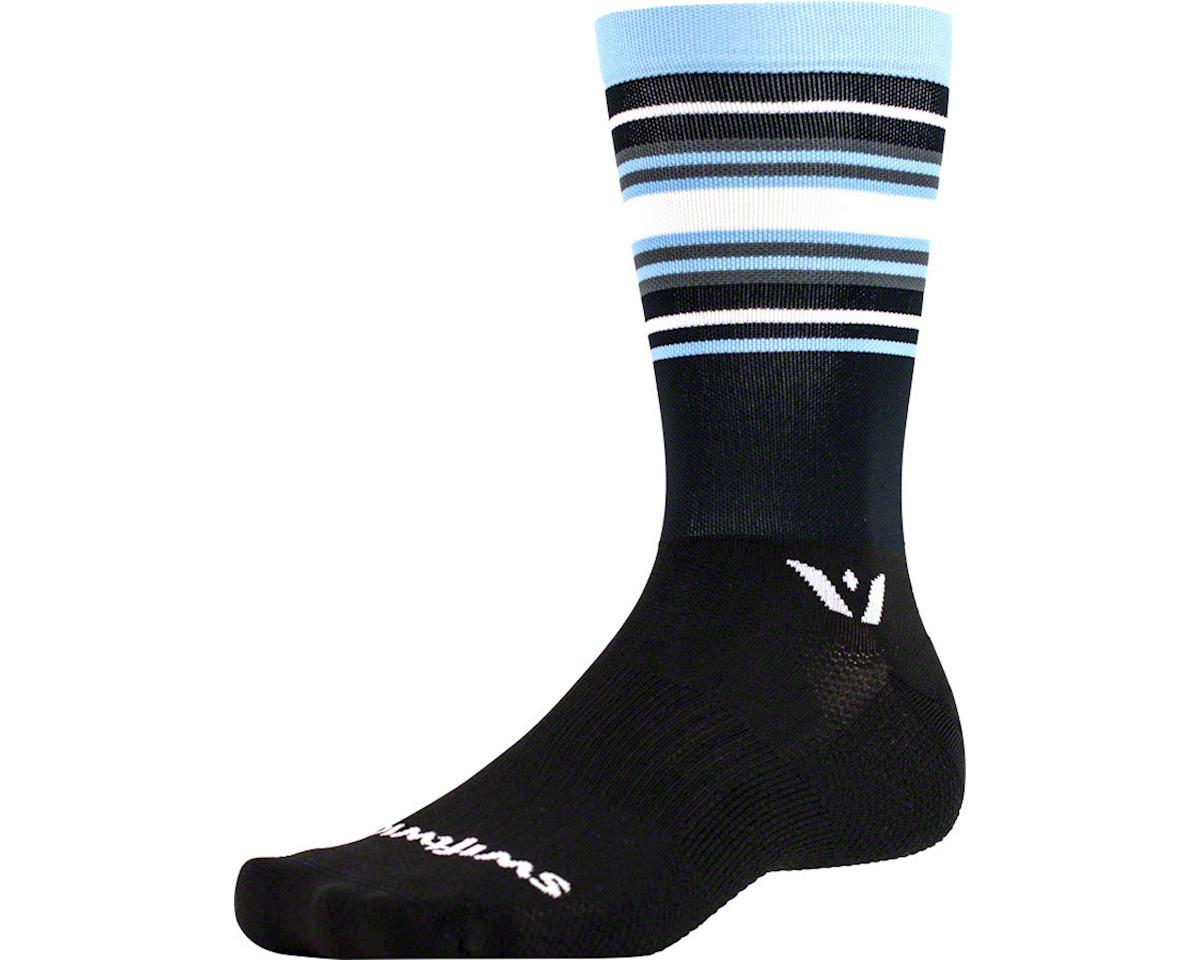 Swiftwick Aspire Stripe Seven Sock (Black/Light Blue/Gray) (L)
