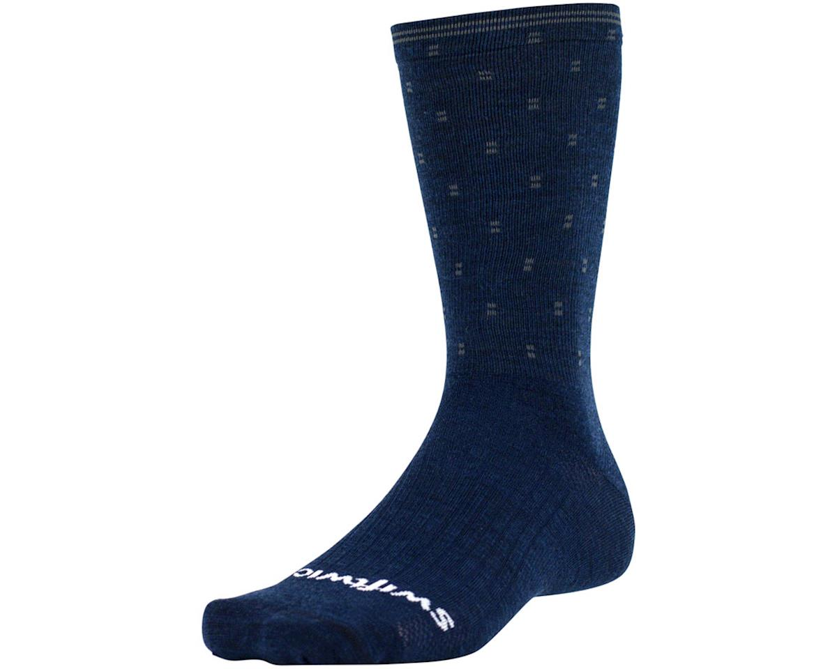 Swiftwick Pursuit Eight Business Sock (Navy/Gray Dots) (XL)