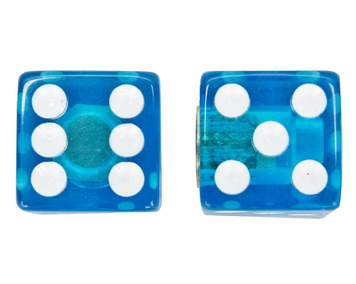 "Trik Topz ""Dice"" Schrader Valve Stem Caps (Clear Blue) (2)"