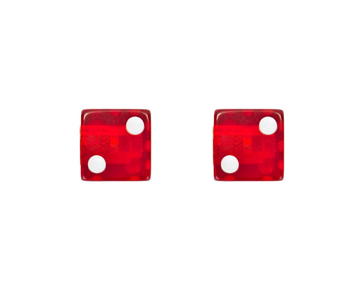 Trik Topz Dice Valve Caps (Pair) (Clear Red)