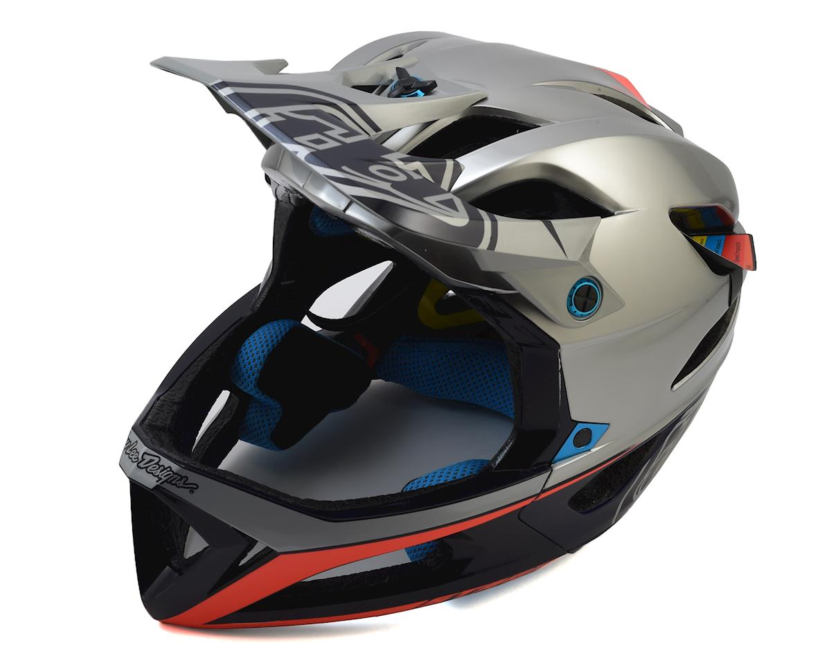 Troy Lee Designs Stage MIPS Race Helmet (Silver/Navy) (M/L)