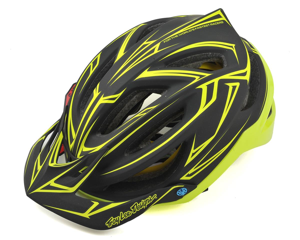 Troy Lee Designs A2 MIPS Helmet (Pinstripe Black/Yellow)