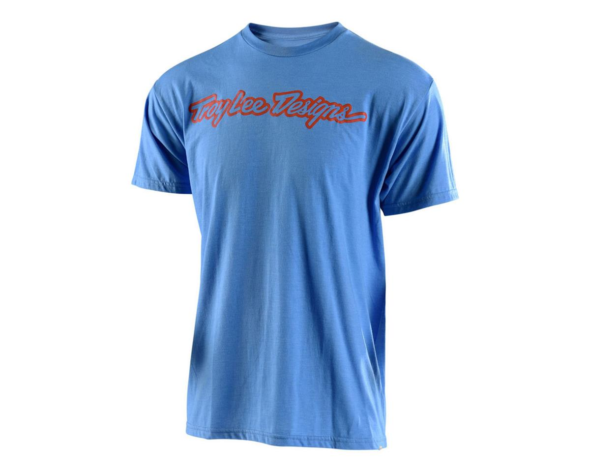 Troy Lee Designs Signature Tee (Light Blue Heather/Orange) (L)