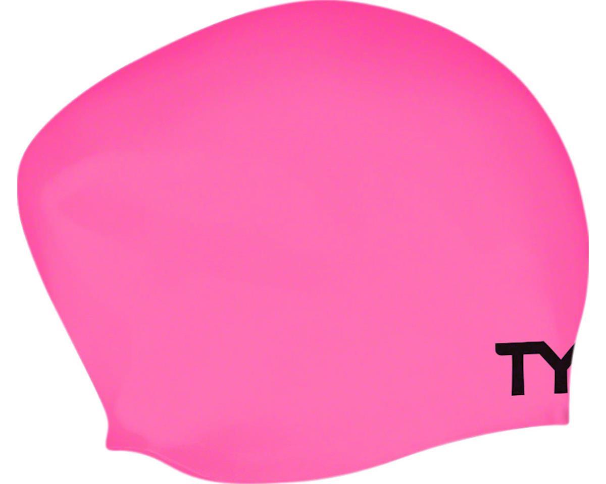 Tyr Long Hair Silicon Swim Cap, Pink