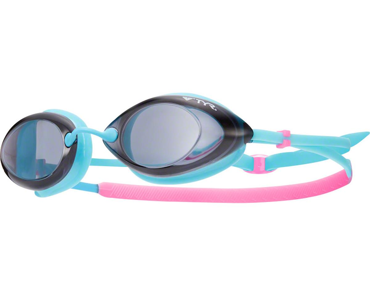 Tyr Tracer Femme Goggle: Pink-Turquoise Frame/Smoke Lens