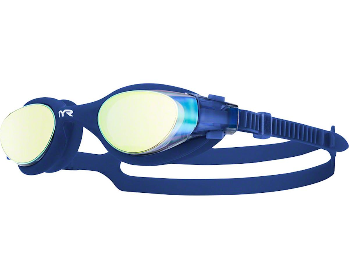 Tyr Vesi Mirrored Goggle: Gold Lens/Navy Frame/Navy Gasket