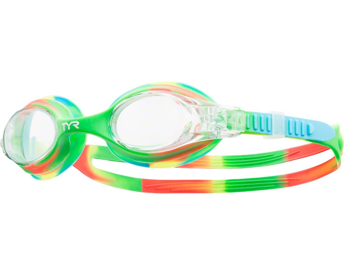Tyr Swimple Kids Tie Dye Goggle: Green-Orange Frame/Clear Lens