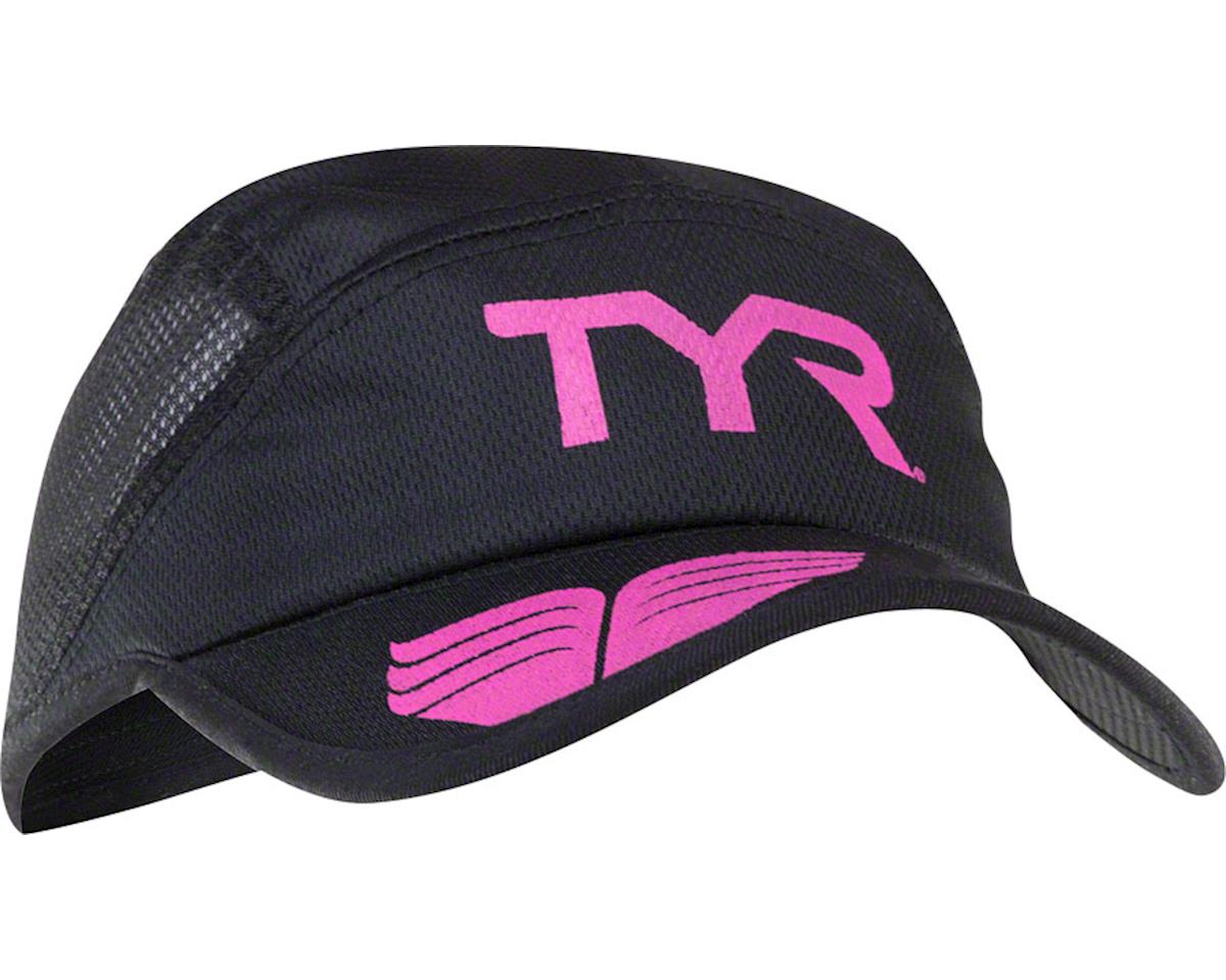 TYR Competitor Running Cap: Black/Pink One Size