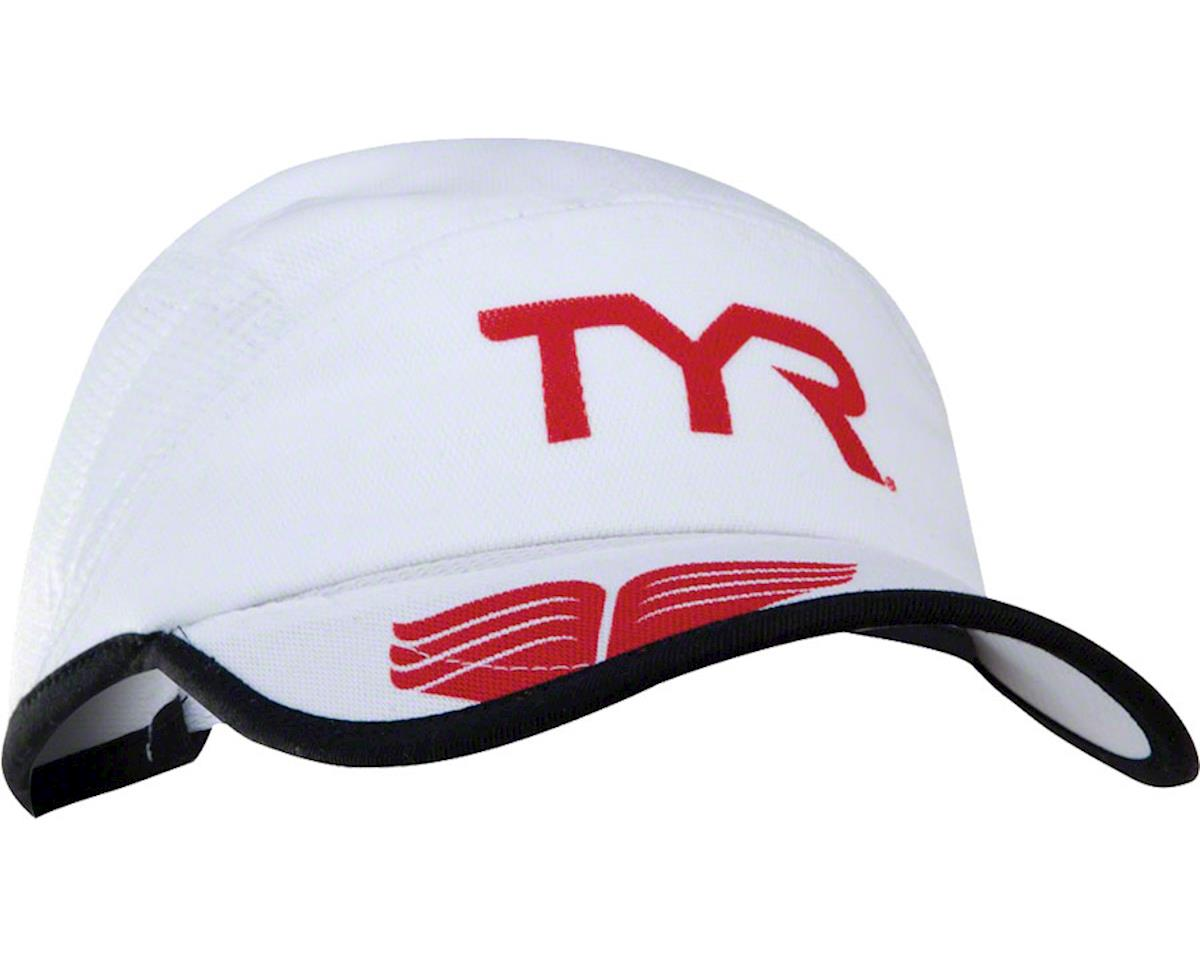 Tyr Competitor Running Cap (White/Red) (One Size)