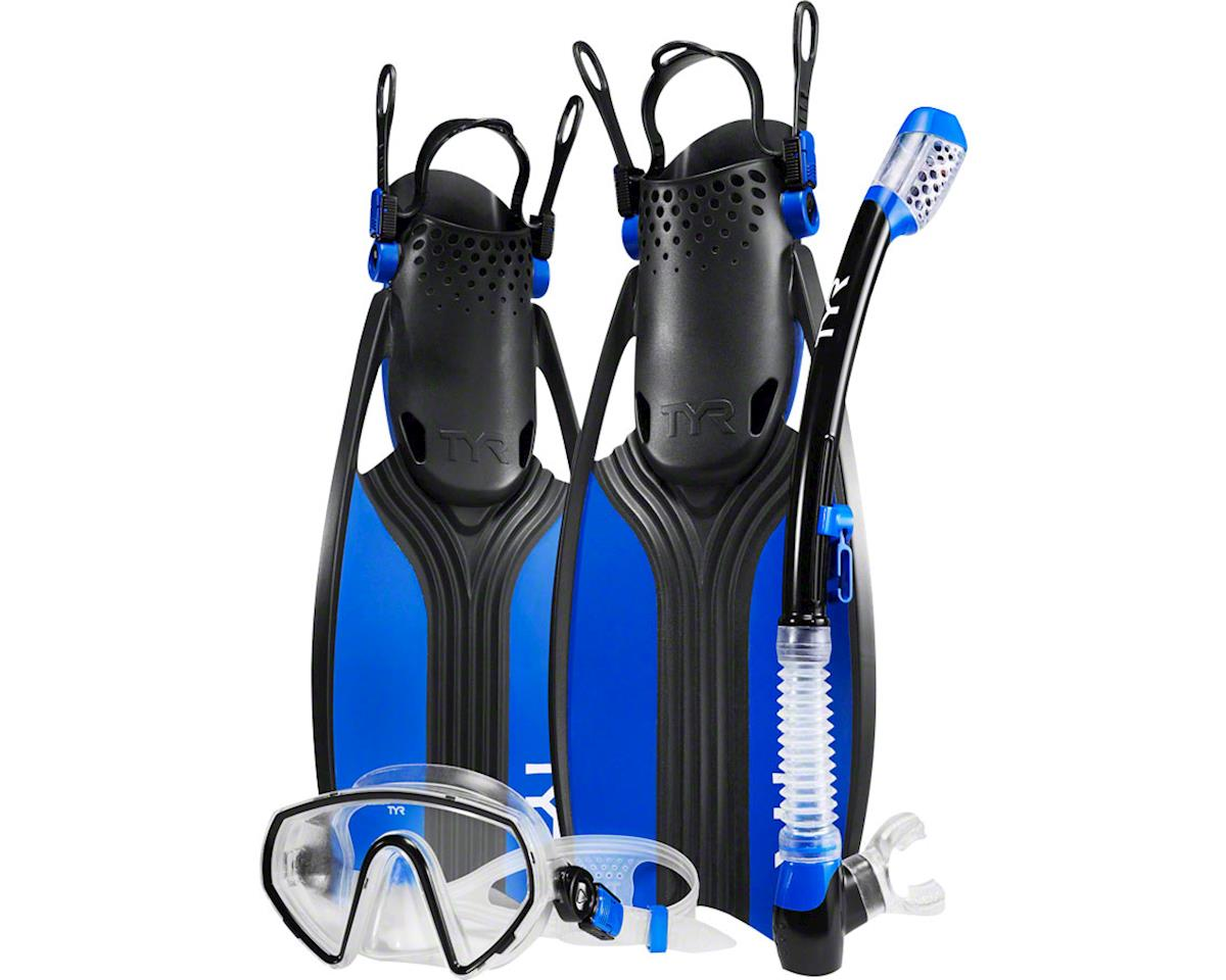 Tyr Voyager Men's Mask and Snorkel Fin Set: Blue/Black LG, Shoe Size 10.5 - 13