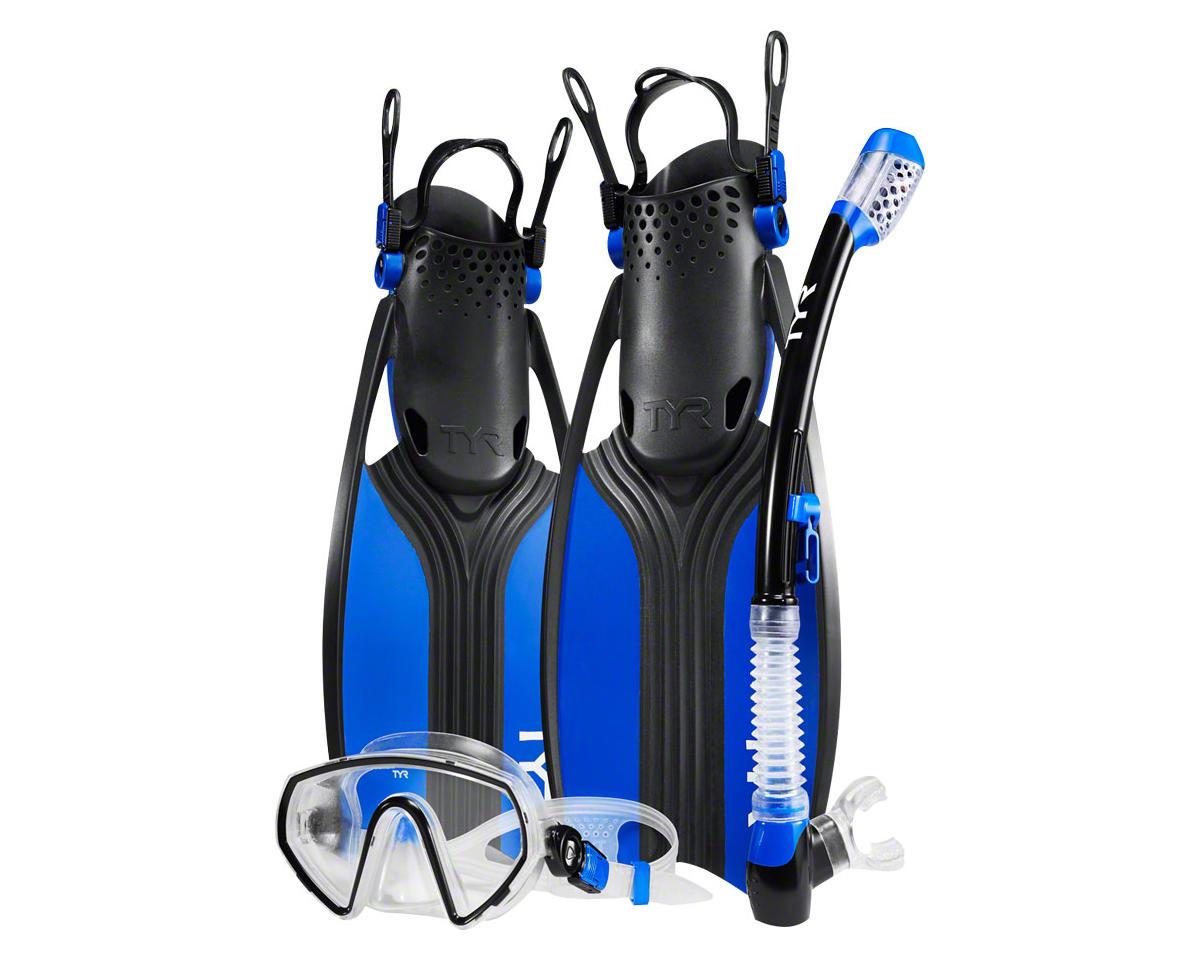 Voyager Men's Mask and Snorkel Fin Set: Blue/Black MD, Shoe Size 7 - 10