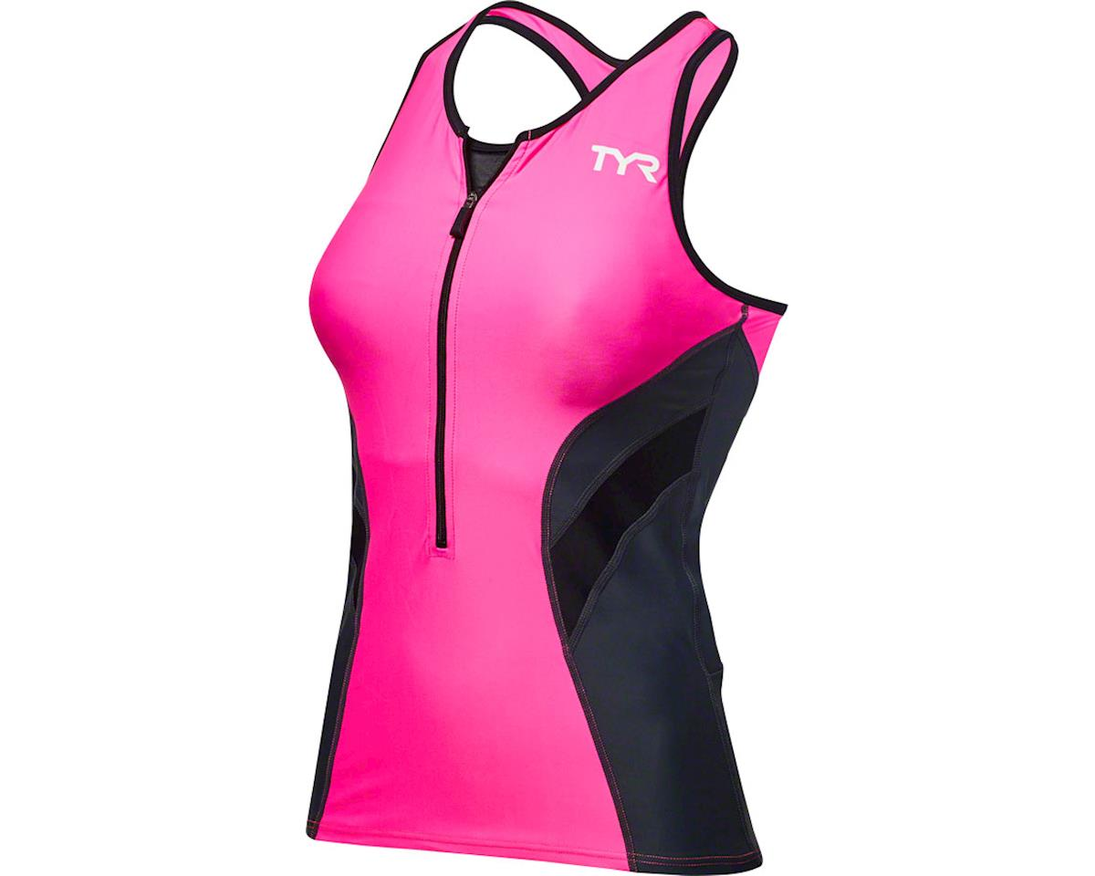 TYR Competitor Women's Tank: Black/Lime LG