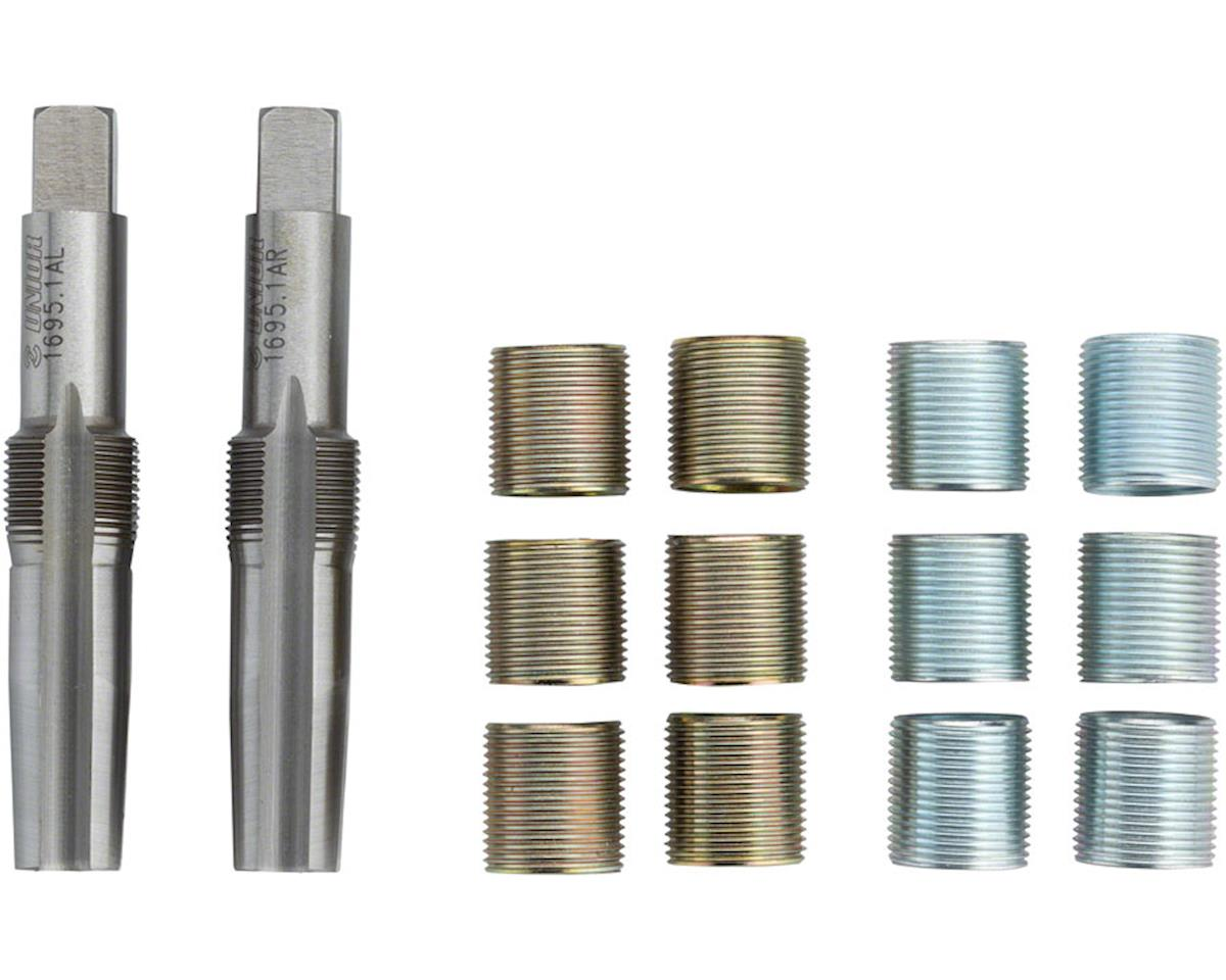 """Unior Proprietary Pedal Tap and Thread Insert Set: 9/16"""", Brass/Silver"""