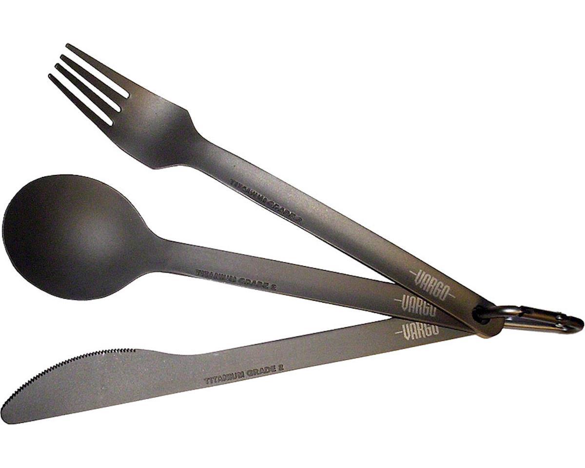 Vargo Titanium Spoon-Knife-Fork Set: Titanium