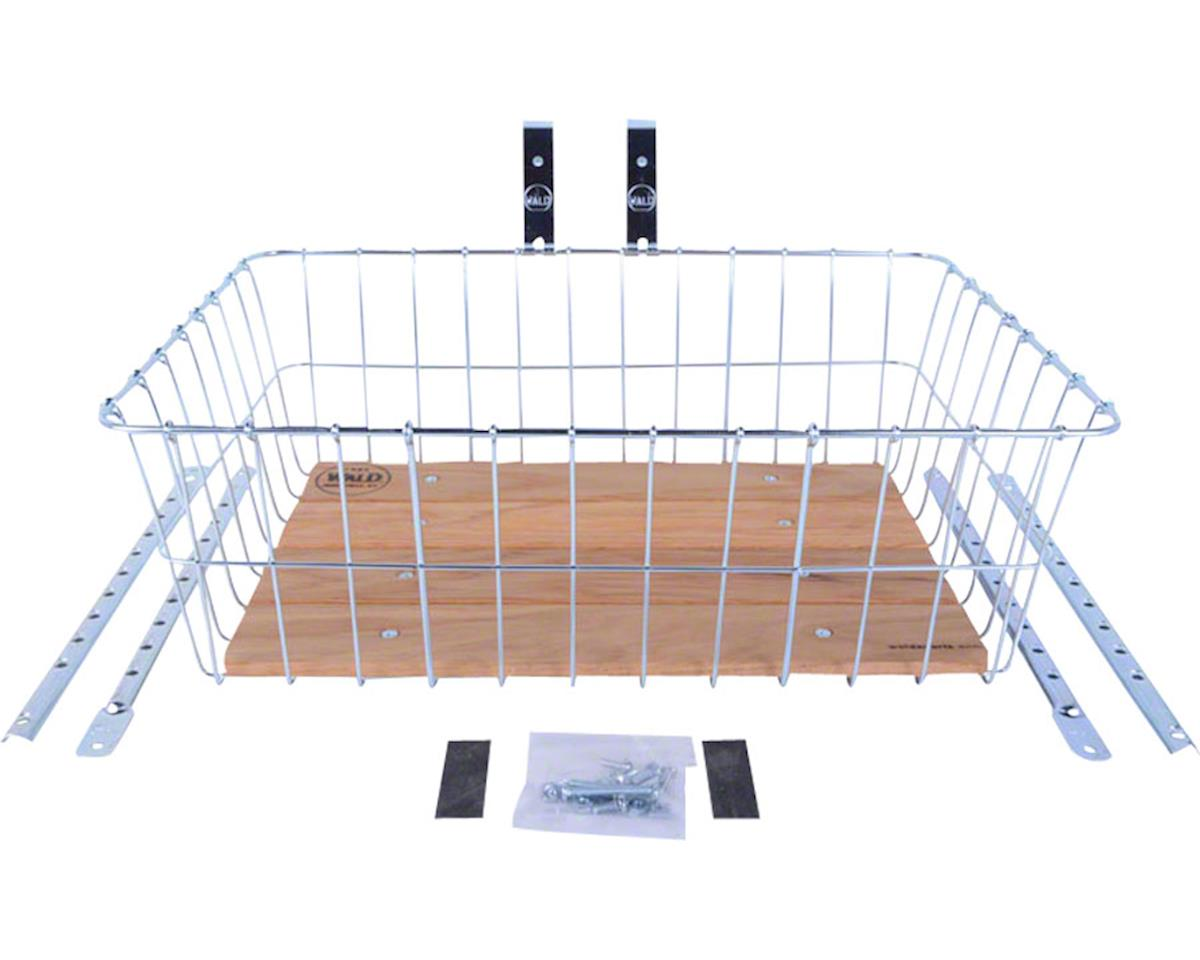 1392 Front Basket with Adjustable Legs, Wood Slats, Silver