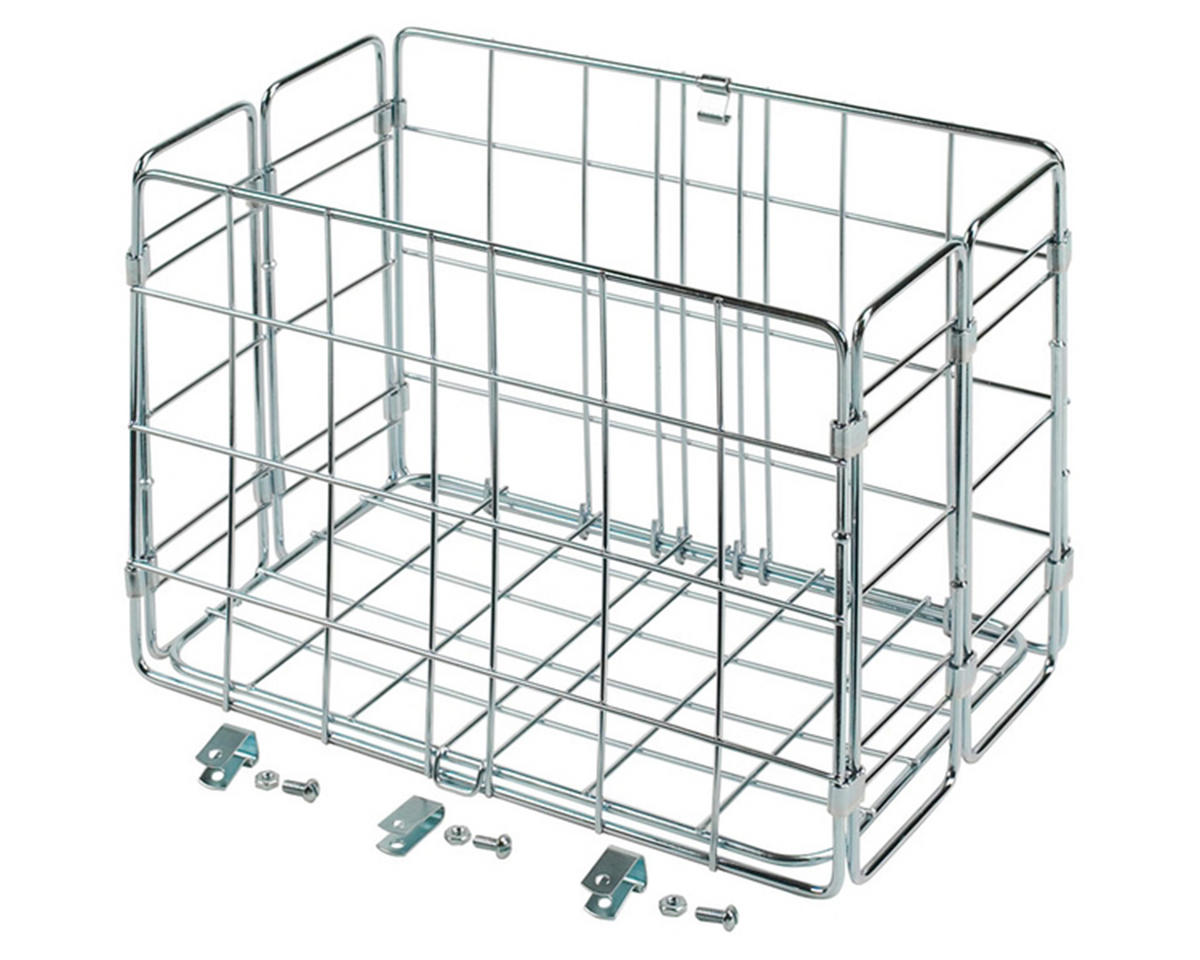 Wald Side-Mount Folding Rear Basket (12.75x7.25x8.5) (Chrome)