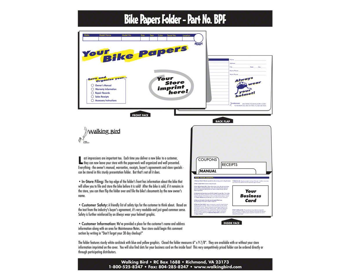 Walking Bird Bike Papers Folder: Pack of 250