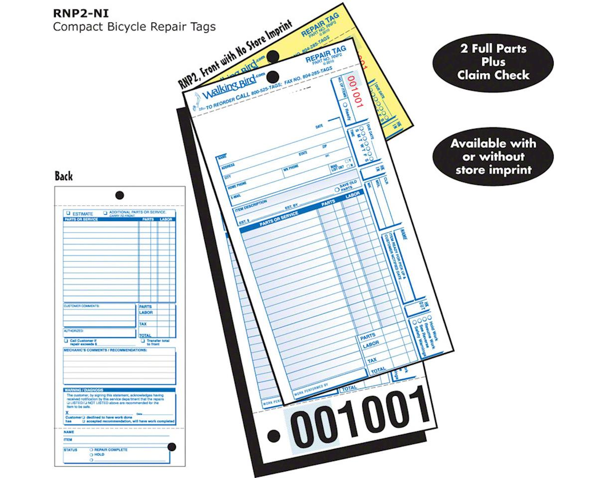 Unlisted Repair Form with partial claim check: Pack of 250