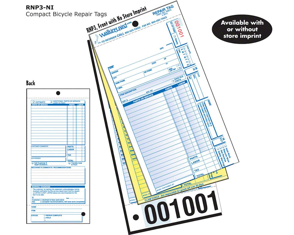 Walking Bird Unlisted Repair Form, full claim check: Pack of 250