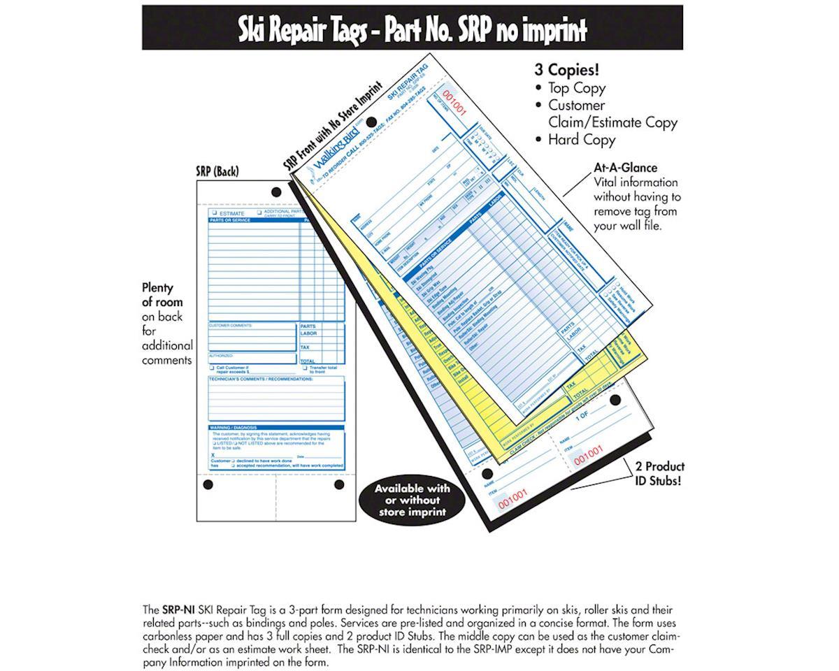 Walking Bird Pre-Listed Ski Repair Form: Pack of 250