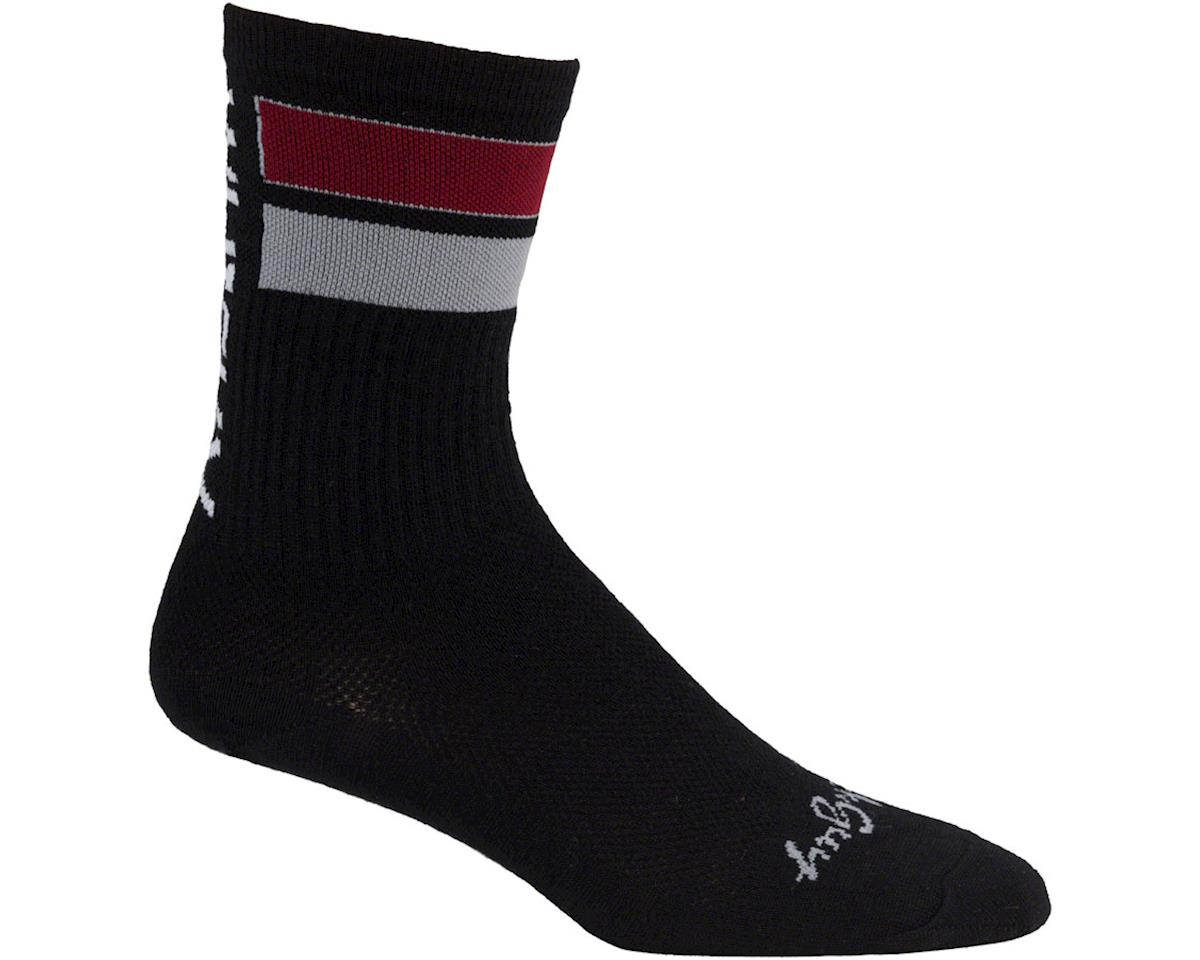 Whisky Parts Whisky Double Bar Wool Sock (Black/Red) (S/M)