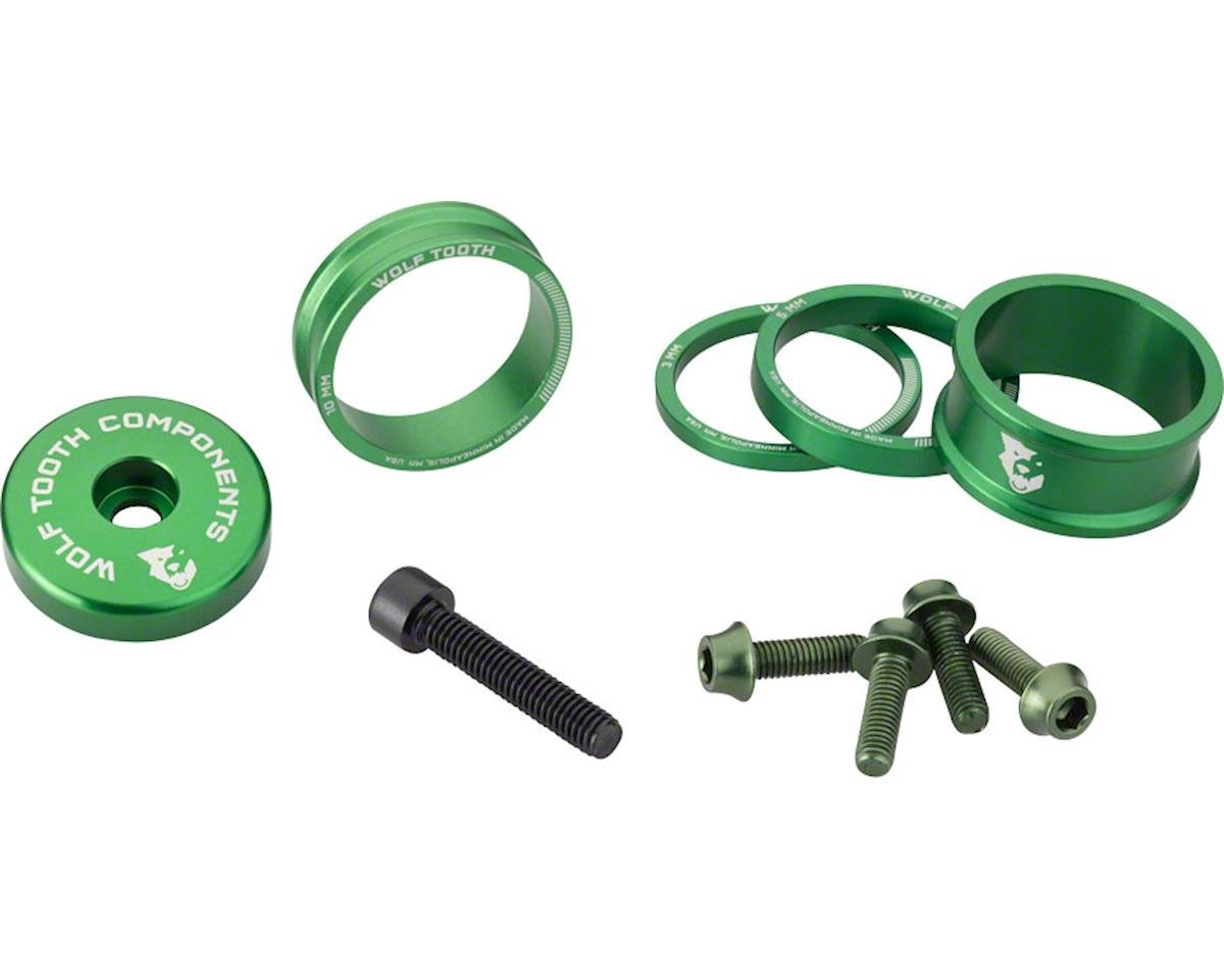 Wolf Tooth Components Headset Spacer BlingKit (Green) (3, 5,10, 15mm)