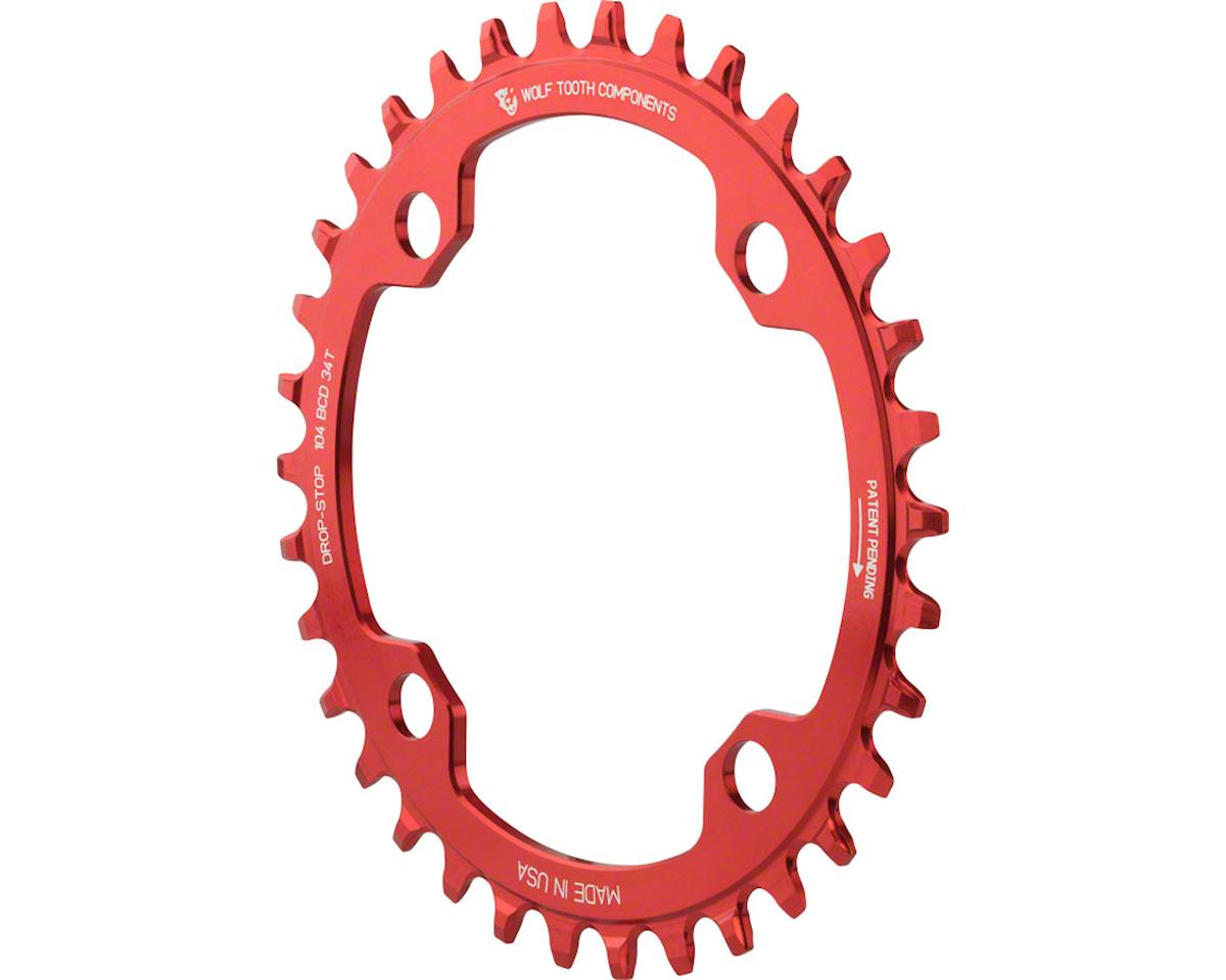 Wolf Tooth Components Drop-Stop Chainring (Red) (4 x 104 BCD) (34T)