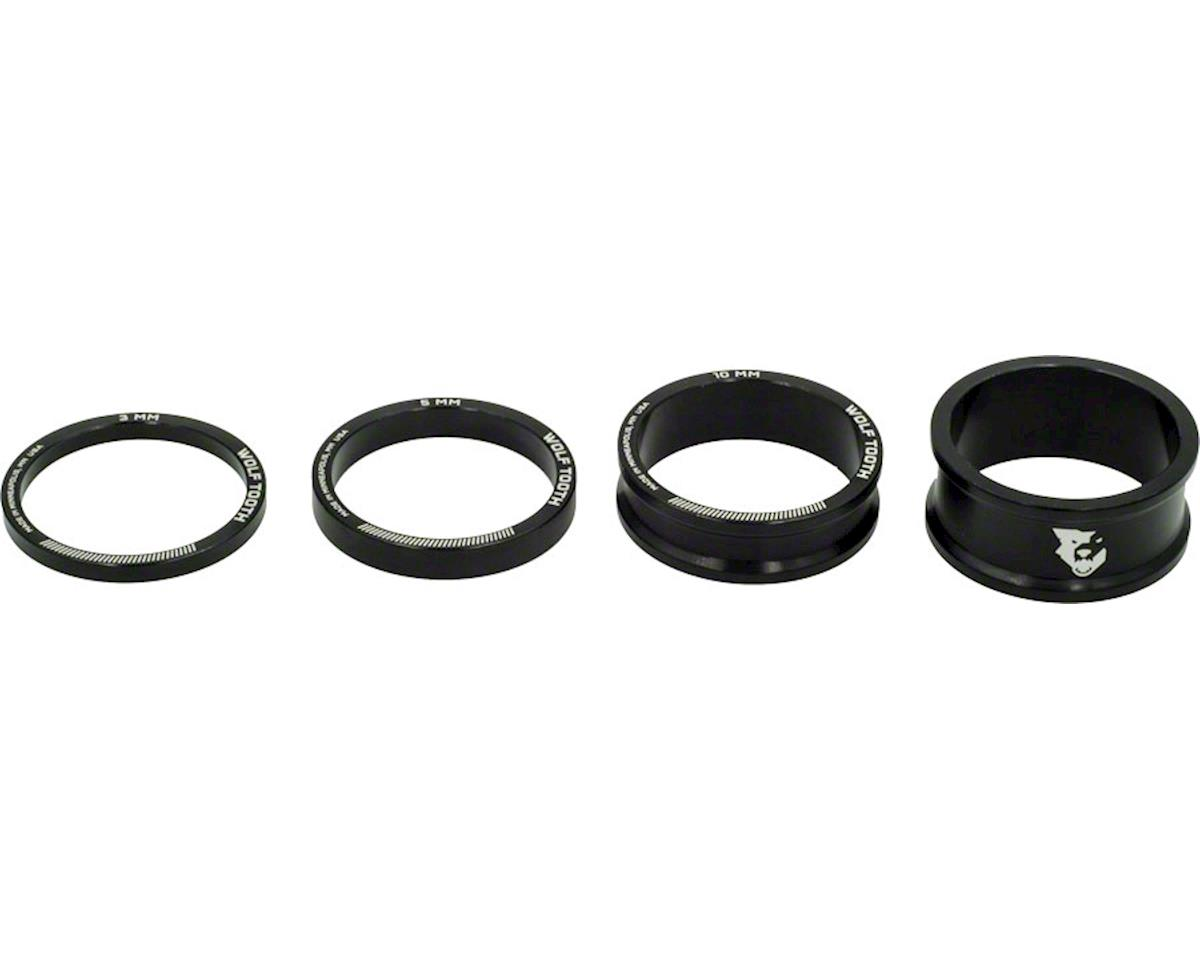 """Wolf Tooth Components 1 1/8"""" Headset Spacer Kit (Black) (3, 5, 10, 15mm)"""