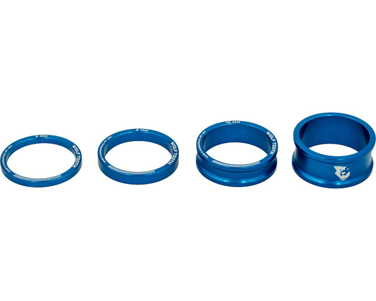 "Wolf Tooth Components 1 1/8"" Headset Spacer Kit (Blue) (3, 5, 10, 15mm)"