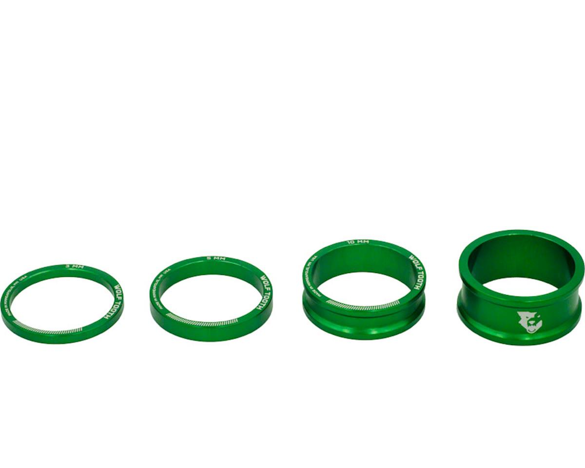"""Wolf Tooth Components 1 1/8"""" Headset Spacer Kit (Green) (3, 5, 10, 15mm)"""