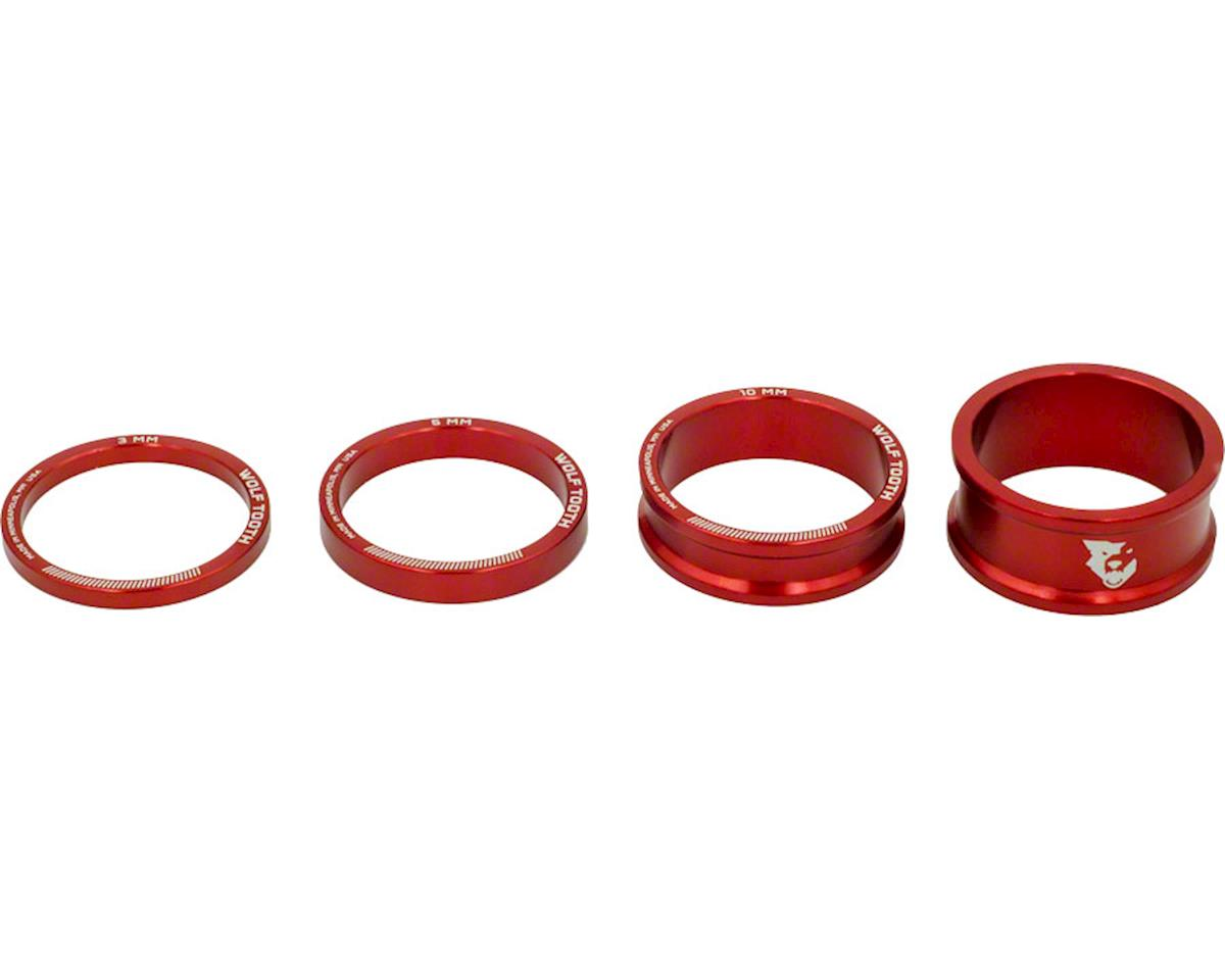 "Wolf Tooth Components 1 1/8"" Headset Spacer Kit (Red) (3, 5,10, 15mm)"