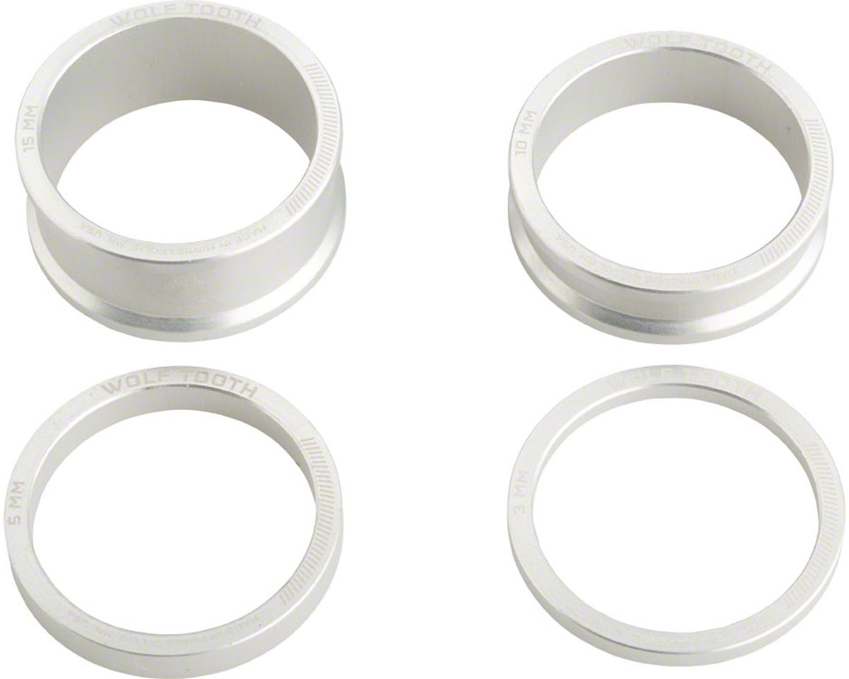 "Wolf Tooth Components 1 1/8"" Headset Spacer Kit (Silver) (3, 5, 10, 15mm)"