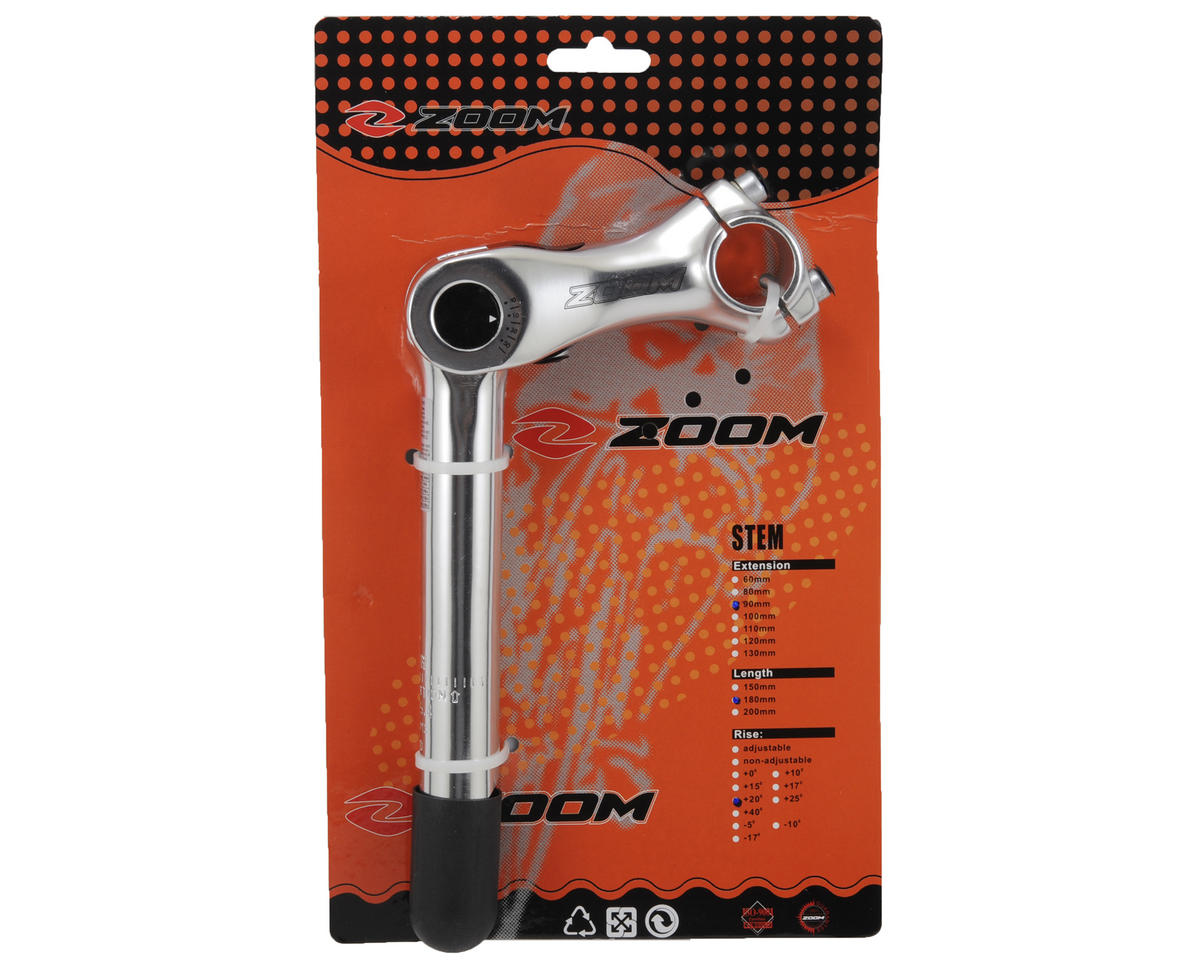 Zoom Adjustable Angle 1 1/8 Quill Stem (Silver) (25.4 x 90mm)