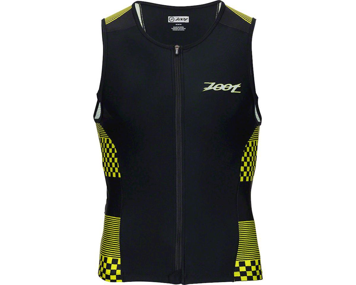 Zoot Performance Tri Full Zip Men's Tank: Volt Checkers XL (S)
