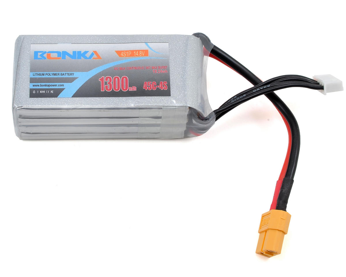 Bonka Power 4S Li-Po Battery 45C (14.8V/1300mAh) (JST-XH)