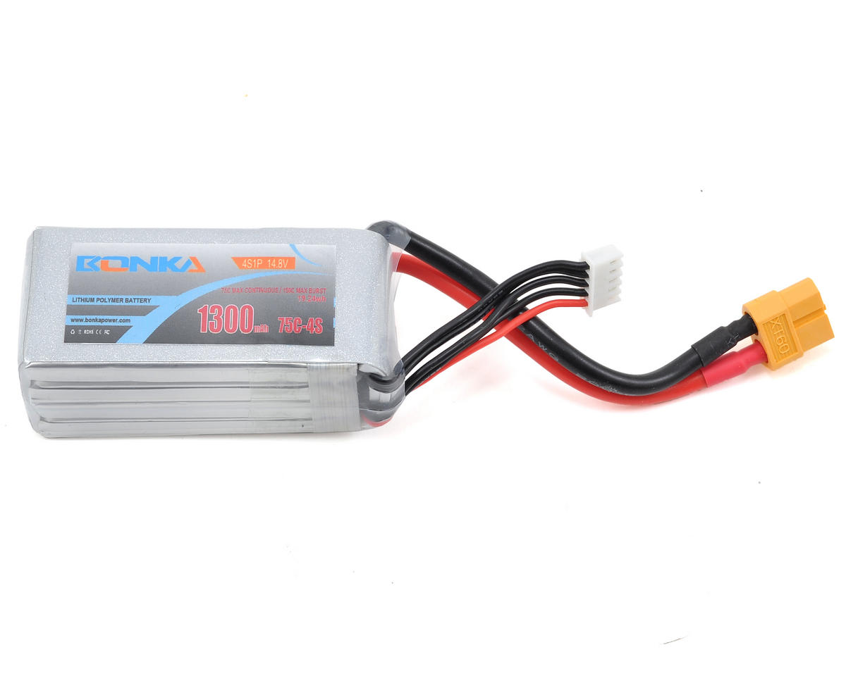 Bonka Power 4S Li-Po Battery 75C (14.8V/1300mAh) (JST-XH)