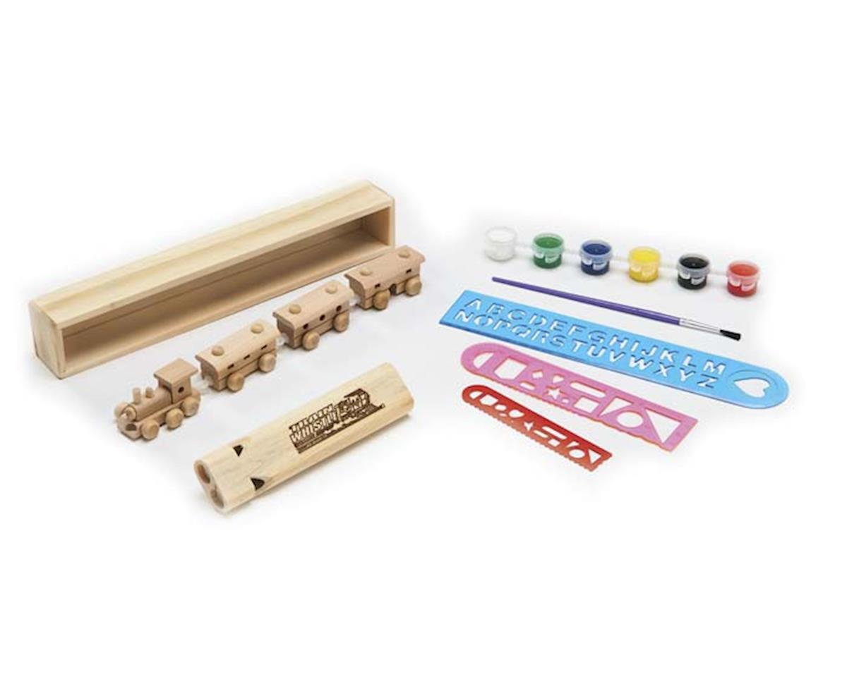 KTPNT Wooden 4-Car Train 2-Tone Whistle Painting Kit