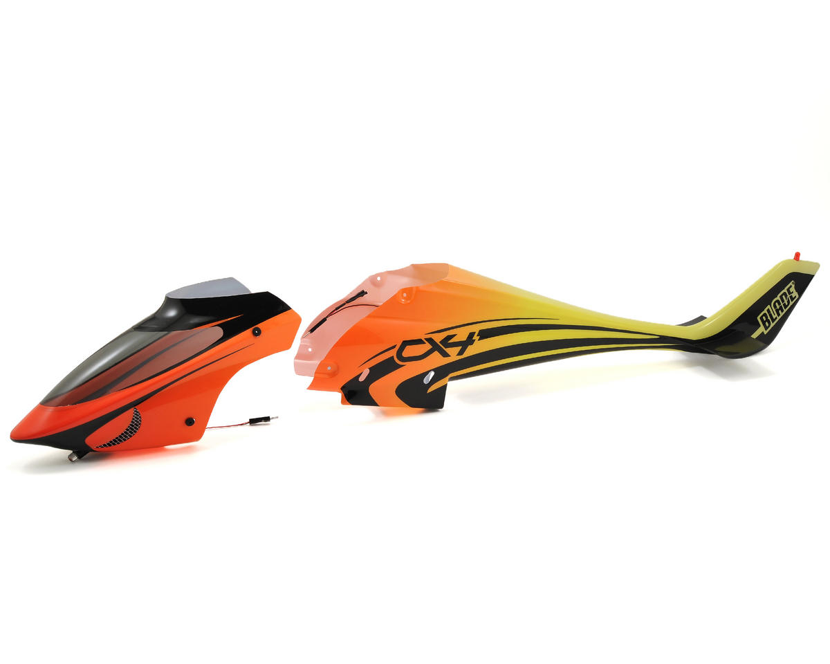 Blade Helis Fuselage Set w/Lights (Orange/Yellow)