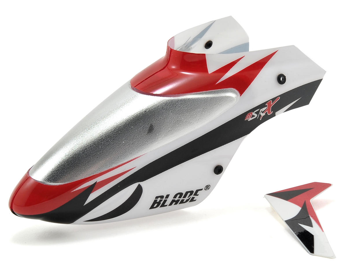 Blade mSR X Helis Complete Canopy w/Vertical Fin (White) (mSR X)