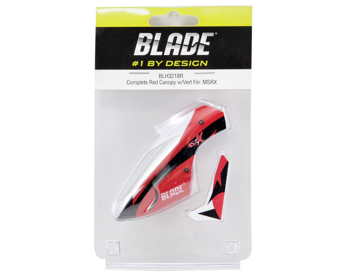 Blade Helis Complete Canopy w/Vertical Fin (Red) (mSR X)