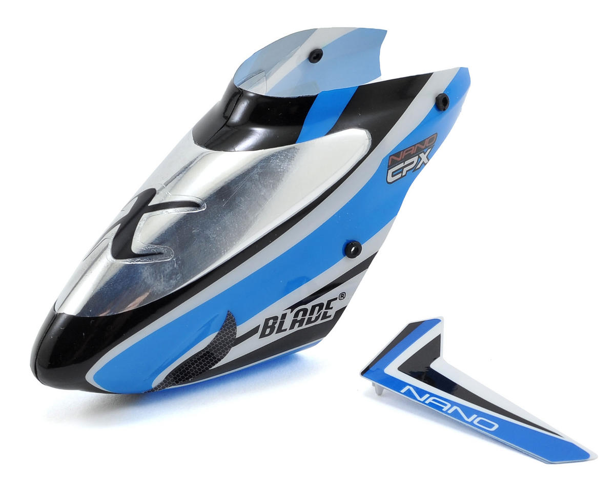 Blade Helis Nano CP X Complete Blue Canopy w/Vertical Fin