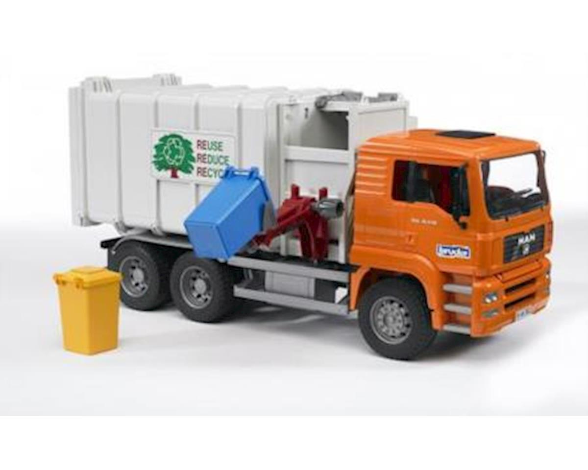 Man Loading Garbage Truck Orange