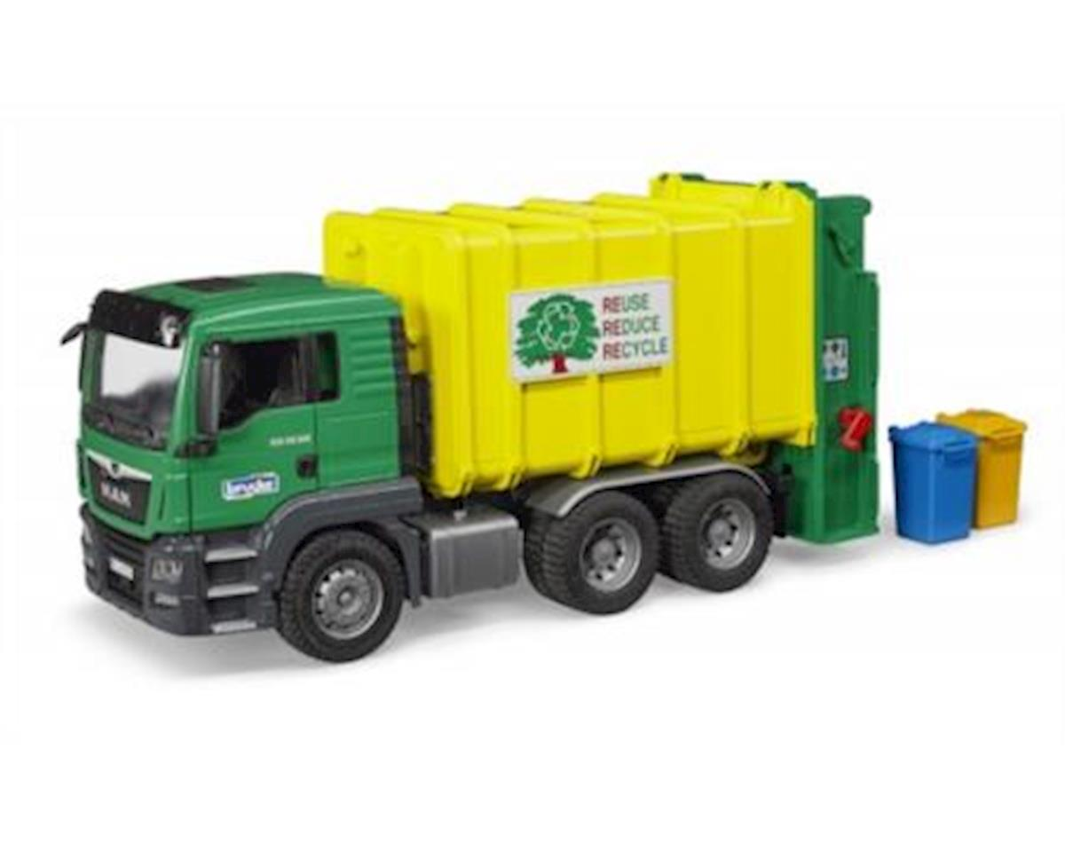 Bruder Toys Bruder 3764 Man Tgs Rear Loading Garbage Green/Yellow Vehicle