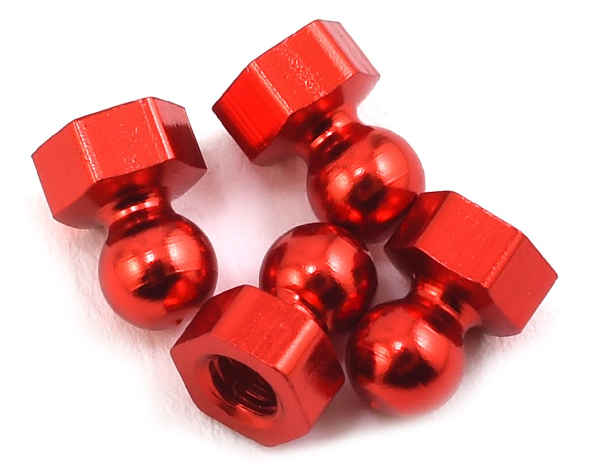 CRC CK25 Damper Tube Hex Ball Studs (Red) (4)