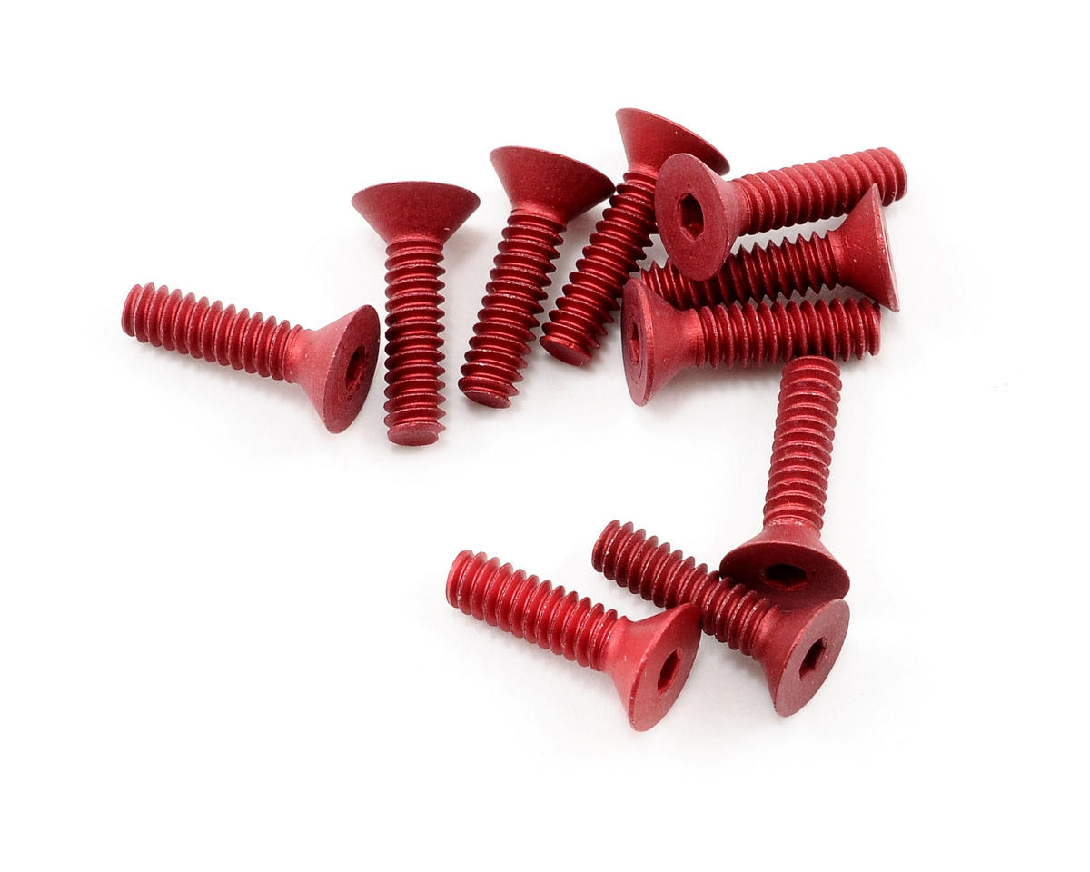 "Calandra Racing Concepts 4-40x7/16"" Aluminum Flat Head Screw (Red) (10)"