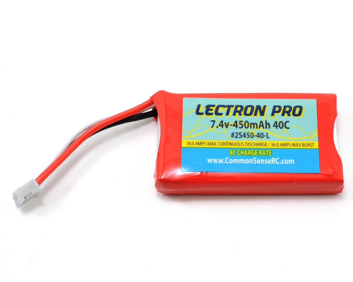 Common Sense RC Lectron Pro 2S Li-Poly Battery Pack 40C (7.4V/450mAh)