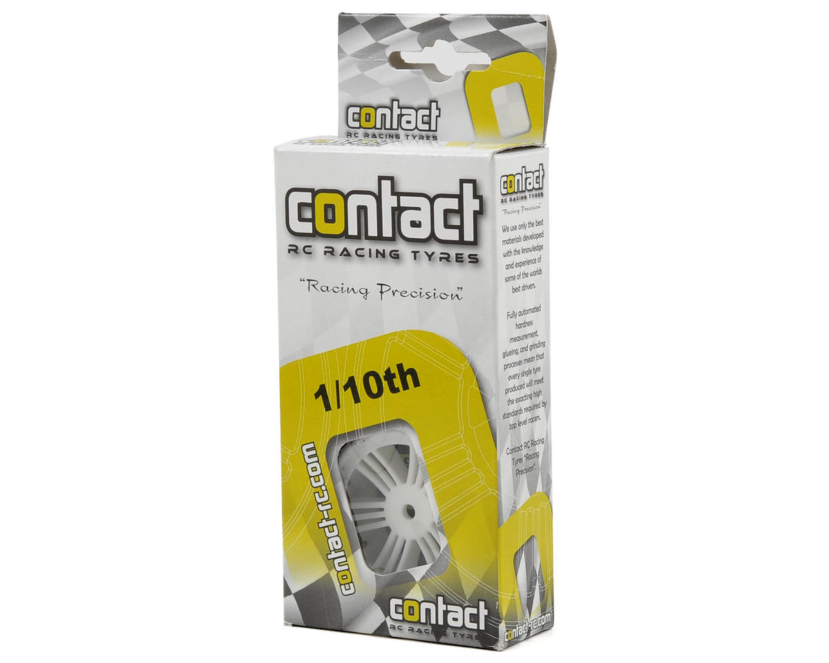 Contact 12mm Hex 1/10 Electric Sedan Foam Tires (2) (White) (37 Shore)