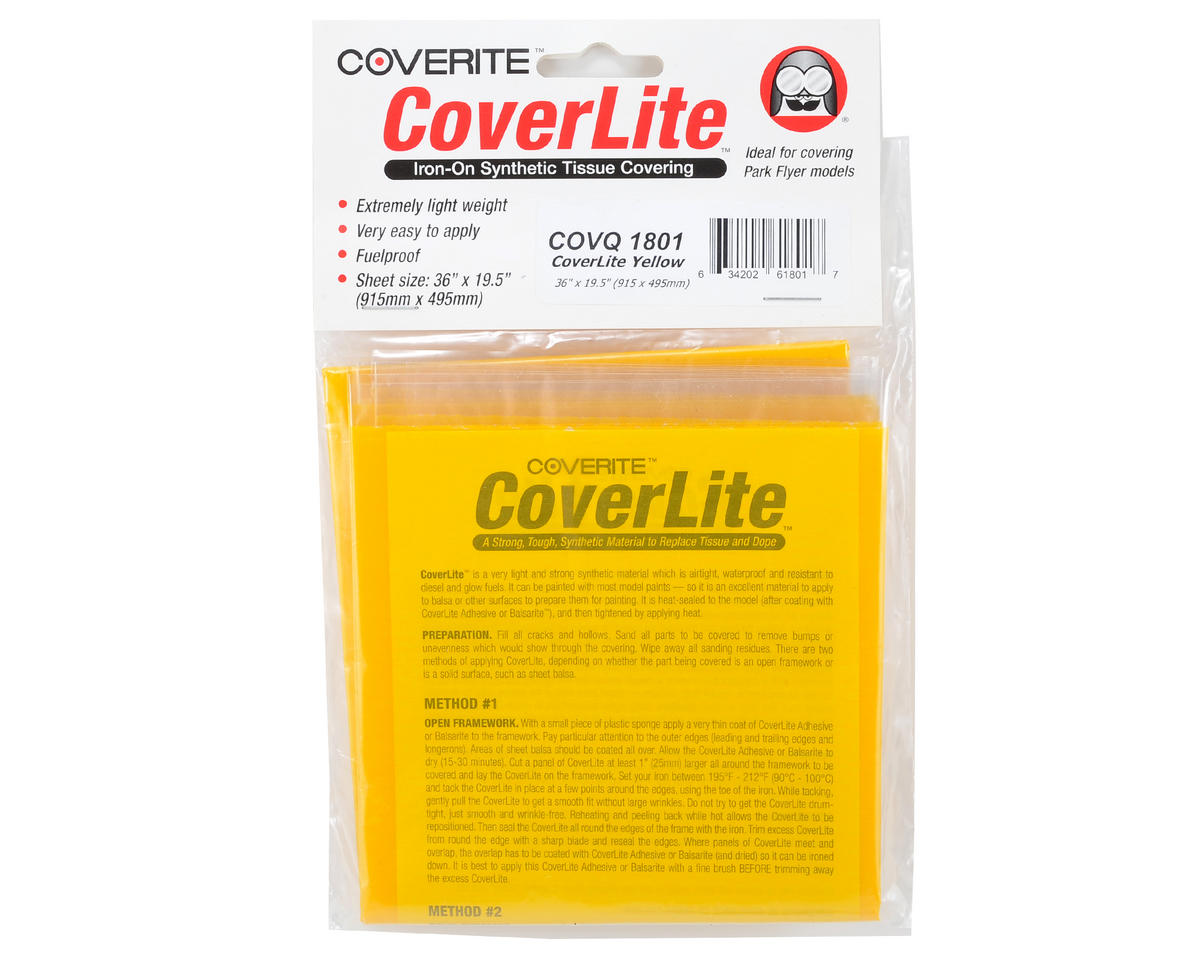 "Coverite 36x19-1/2"" CoverLite Iron-On Tissue Covering (Yellow)"