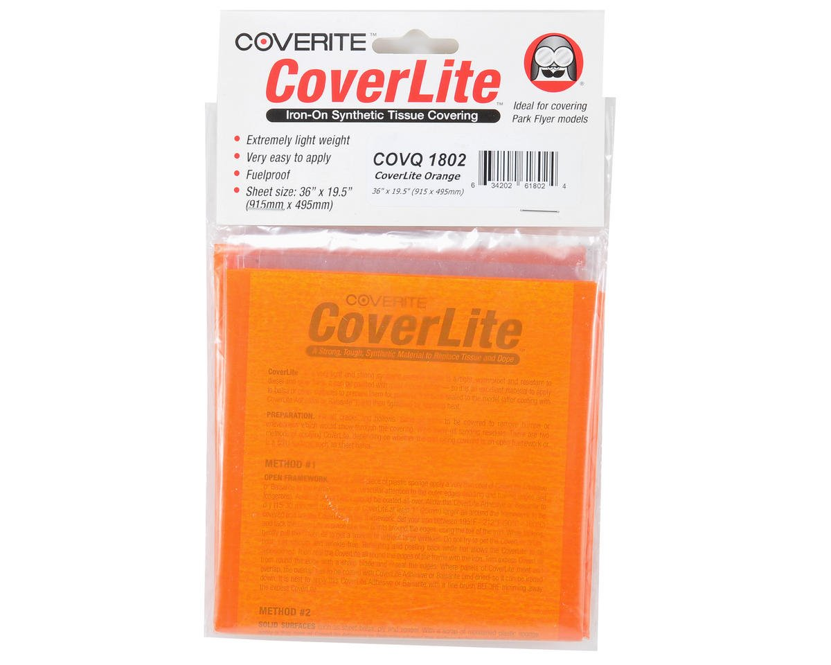 "Coverite 36x19-1/2"" CoverLite Iron-On Tissue Covering (Orange)"