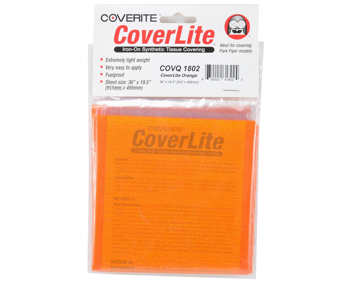 """36x19-1/2"""" CoverLite Iron-On Tissue Covering (Orange) by Coverite"""